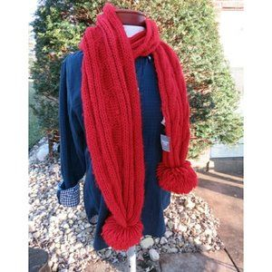 Chunky Cable Knit Pom Pom Wool Scarf Red Gift